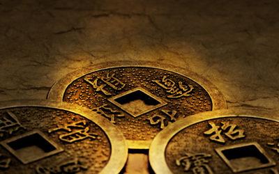 três moedas de i-Ching
