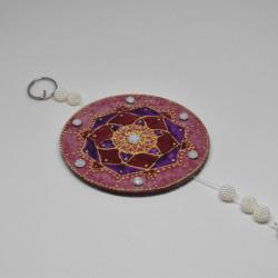 Mandala Pintado a Vitral de Pendurar - Feito à mão
