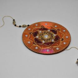 Mandala Pintado a Vitral de Pendurar - Feito à mão, Segundo Chacra